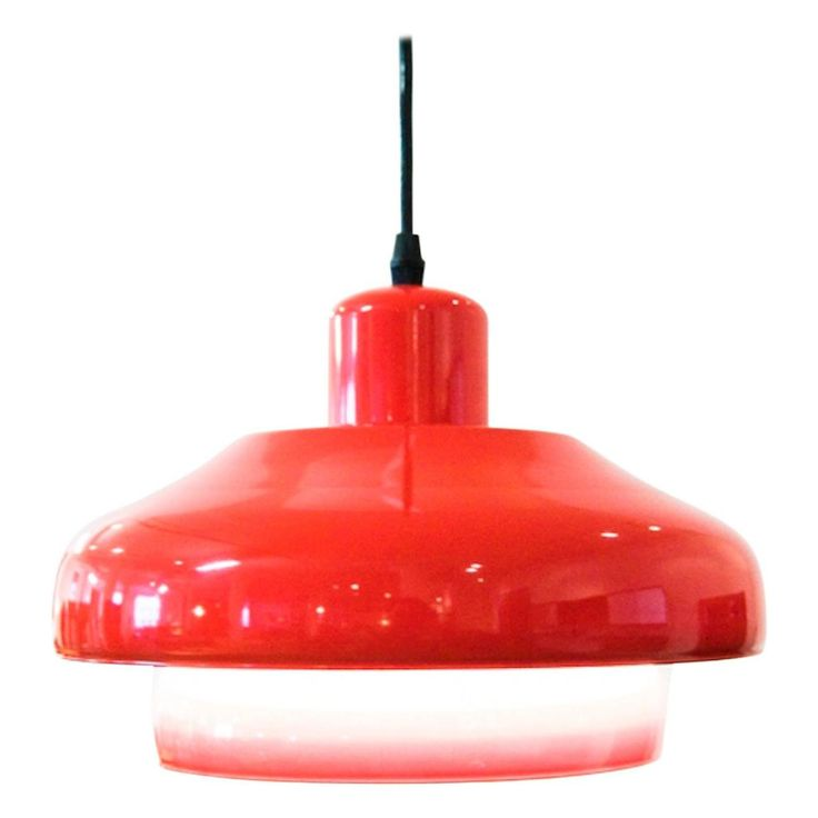 Vintage Danish Modern Red Pendant Light | From a unique collection of antique and modern chandeliers and pendants at https://www.1stdibs.com/furniture/lighting/chandeliers-pendant-lights/