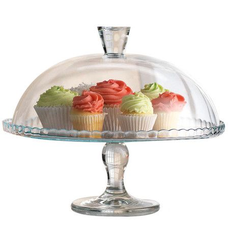 Glass cake plate with dome lid.  Product: Cake plate and lidConstruction Material: GlassColor: ClearDimensions: 6 H x 12 Diameter (cake plate)Cleaning and Care: Hand washing recommended