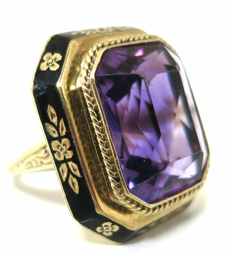 Scintillating Antique Art Deco 14K Gold, Amethyst and Enamel Ring