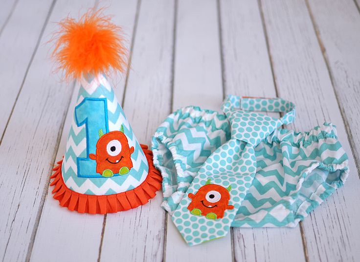 Little Monster Cake Smash Outfit - Little Guy Tie, Diaper Cover, Hat - Monster Aqua Orange Lime First Birthday Party Cake Smash Outfit by FreshForHim on Etsy https://www.etsy.com/listing/253746462/little-monster-cake-smash-outfit-little