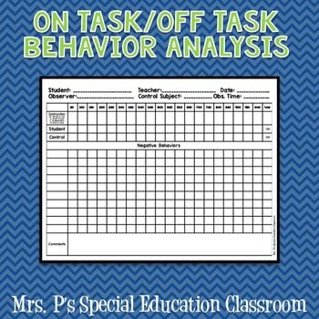 Time On Task, Time Off Task Behavioral Data Sheet**Perfect for Behavioral Data, Evaluations, RTI, Special Education!Observe 2 students for 10 minutes. One student will be the control and the other will be the target student. Write in behaviors that you typically see.