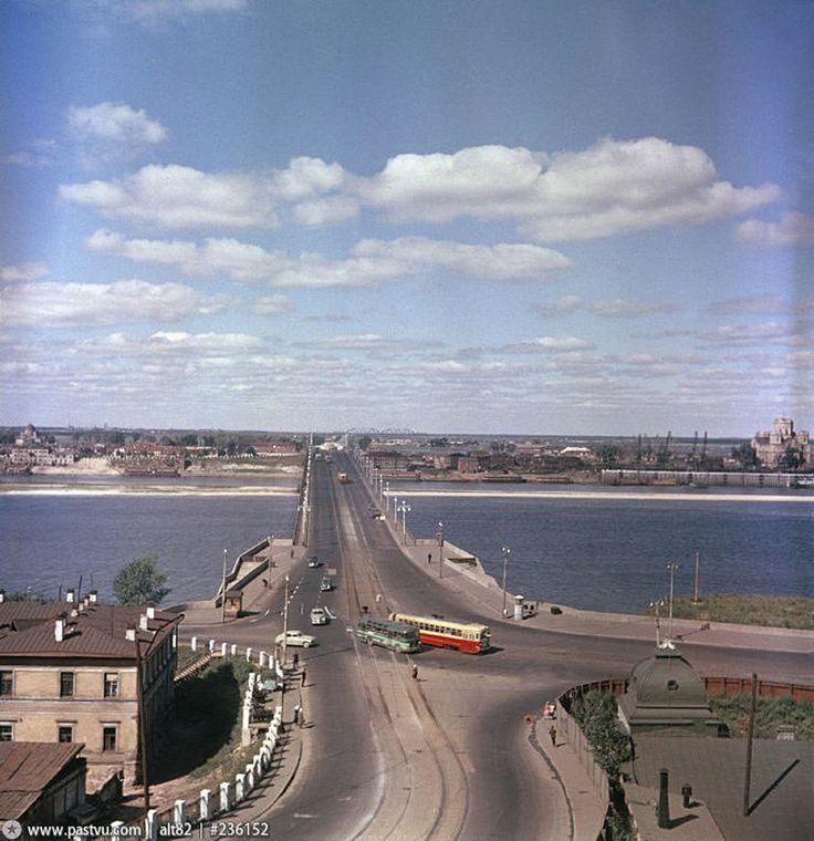 Горький. Окский мост 1958 год.