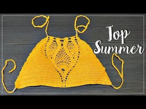 Professora Simone - Cropped Charme Amarelo em crochê - Tamanho Unico - YouTube
