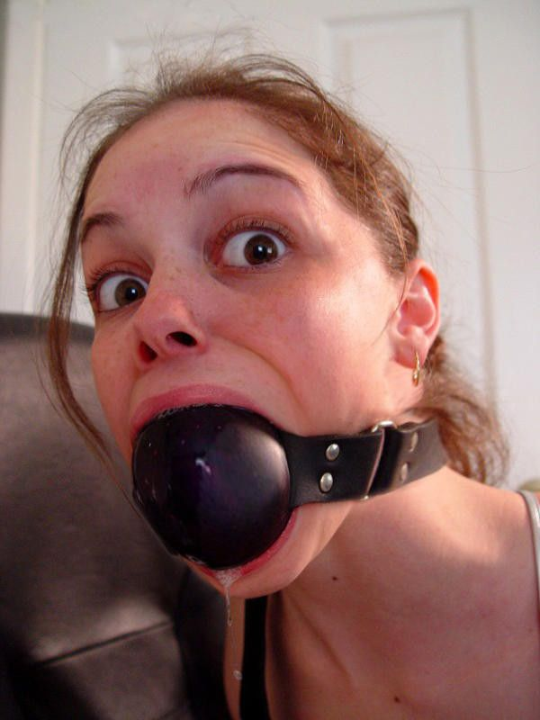 girl with ball gag