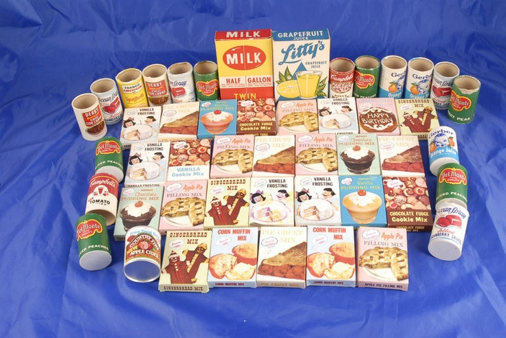 Vintage toy food kitchen set 60s play food lot of 48 for 60s kitchen set