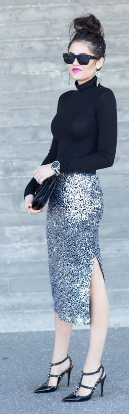 Chic In The City- Silver Split Sequin Mid Calf Skirt by Pink Peonies- #LadyLuxuryDesigns