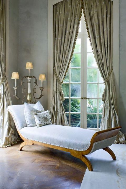 love the classic chaise mixed with country french for a