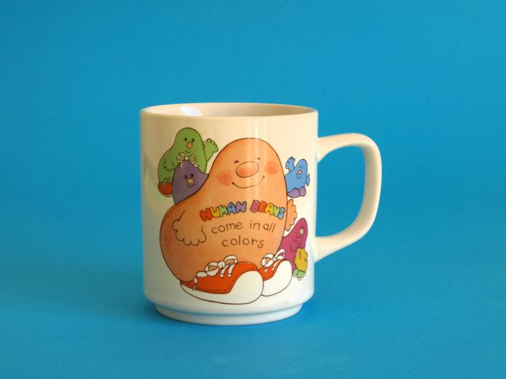 Vintage Retro 1981 Human Beans Come in All Colors Mug - Collectible Have you hugged a Human Bean Today Mug - Made by Enesco by FunkyKoala on Etsy