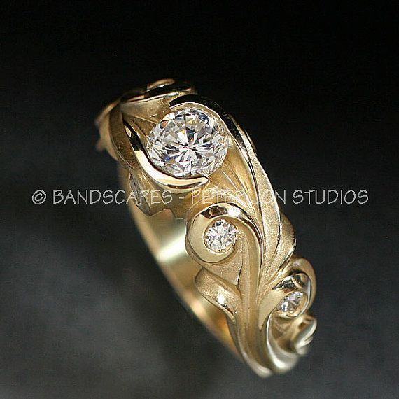14k Yellow Gold ANNE WEDDING Ring Set .58ct. E color by BandScapes, $4370.00