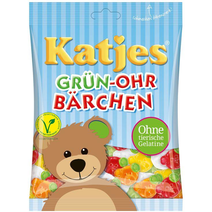 """Simplement fort comme un Ours ! Les oursons aux oreilles vertes de Katjes ne sont pas un simple bonbon en forme d'ourson, mais un ours très spécial ! Parce que son oreille gauche est verte et représente donc la garantie """"Oreille Verte Katjes"""" montrant que c'est un produit végétarien sans gélatine animale et sans gluten. Une gélatine aux fruits sous la forme d'un visage d'ours, aux variétés et parfums suivants : cerise, citron, orange, ananas et pomme."""