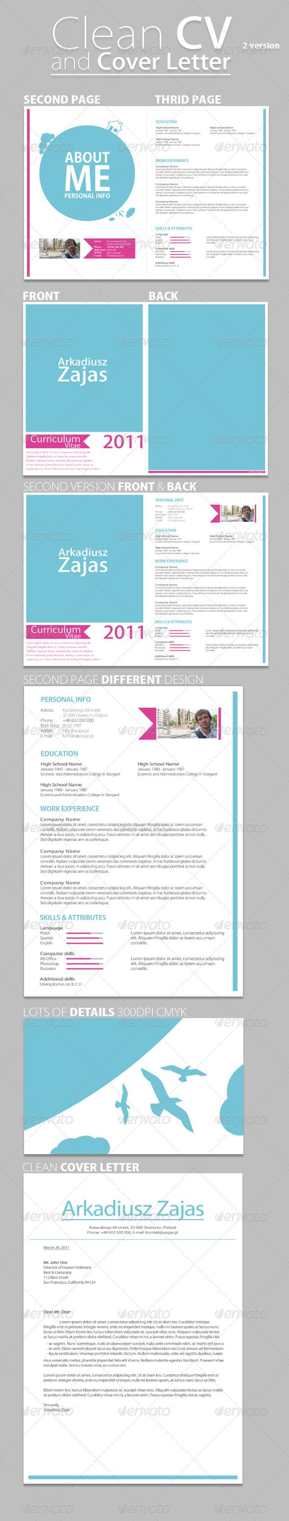 clean cv cover letter graphicriver this curriculum