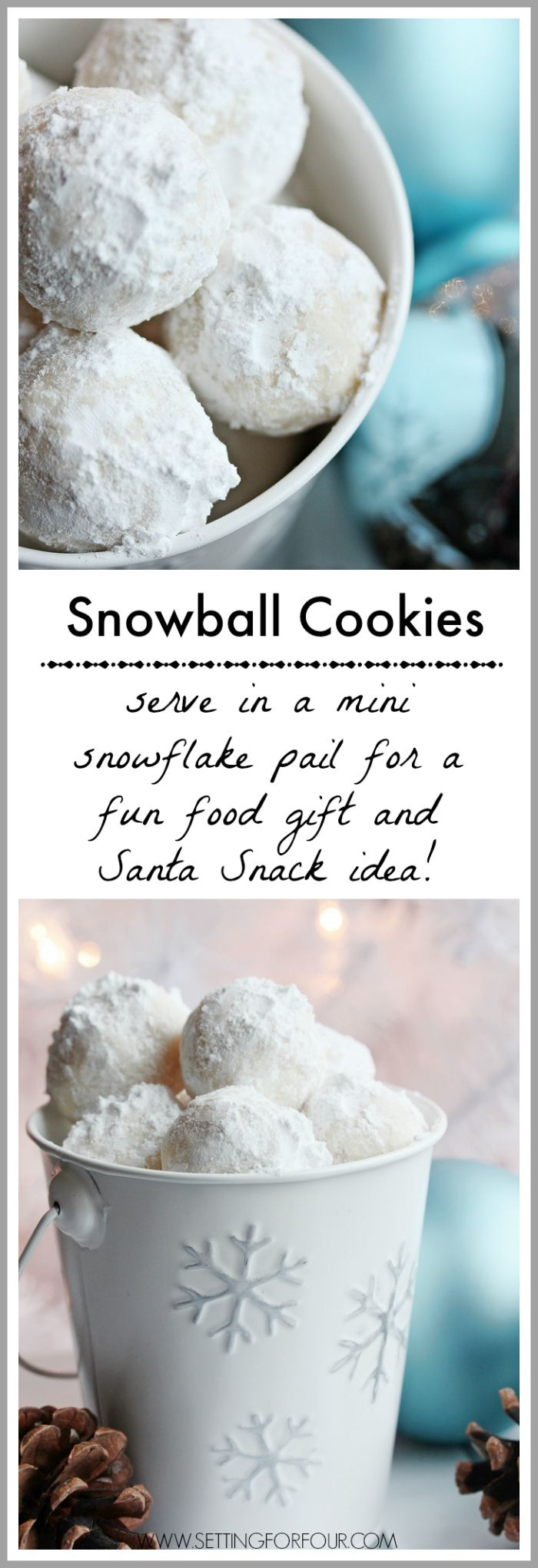 These Snowball Cookies look like adorable mini snowballs! Fabulous DIY Christmas gift Idea and Santa Snack idea too! www.settingforfour.com: