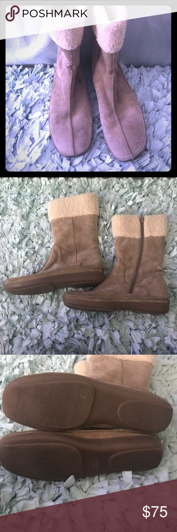 Sand/ Taupe suede colored hush puppies 🐶 boots🎉 • Soft suede leather uppers  • Breathable leather linings  • Rubber outsole for traction  • Dual side cut-outs  • Inside zipper • Flexible construction bends with the foot  Great preloved boots barely worn🤗 ready for a new 🏡 Hush Puppies Shoes Winter & Rain Boots