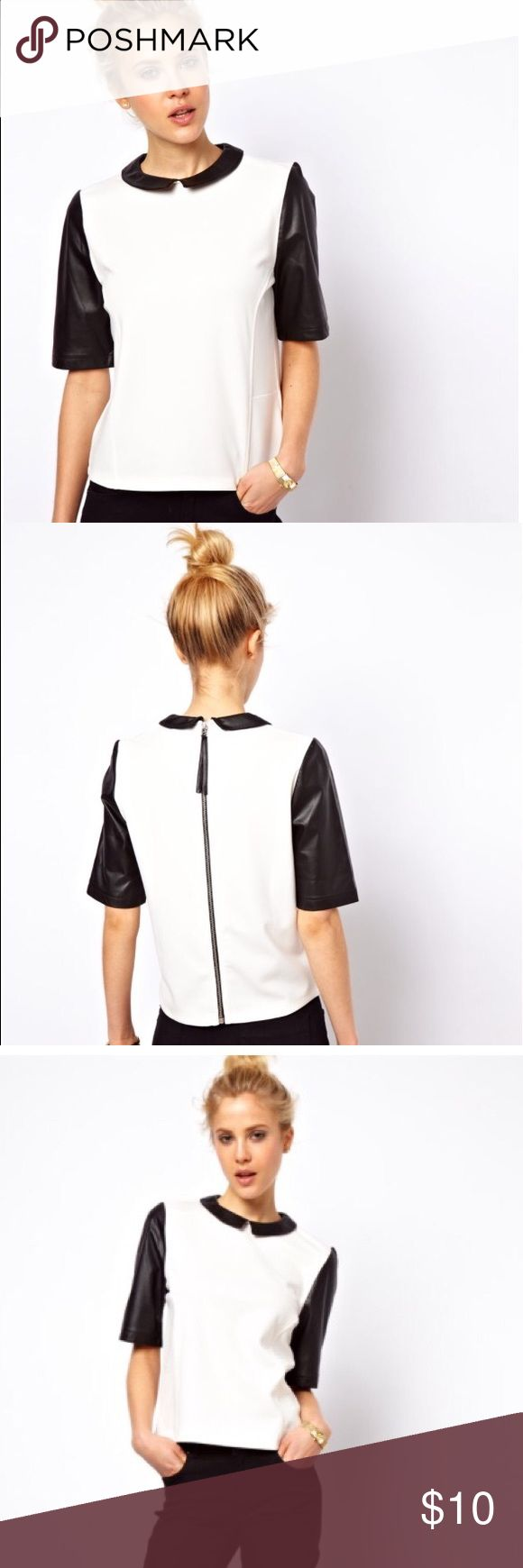 Asos Top with PU Collar and Sleeves Top with leather look collar and sleeves. Zip back. Never worn. ASOS Tops