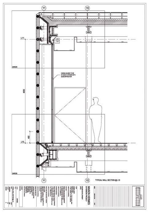 Drawings. Glass block details. Hermès flagship store in Tokyo. Maison Hermès by Renzo Piano Building Workshop.