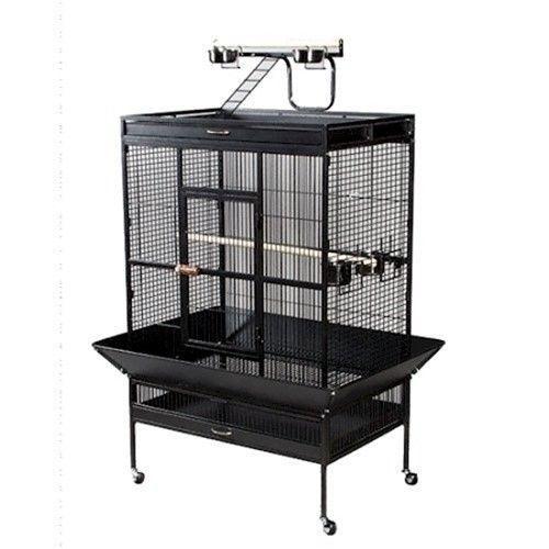 Select Wrought Iron Play Top Large Parrot Bird Cage  Black