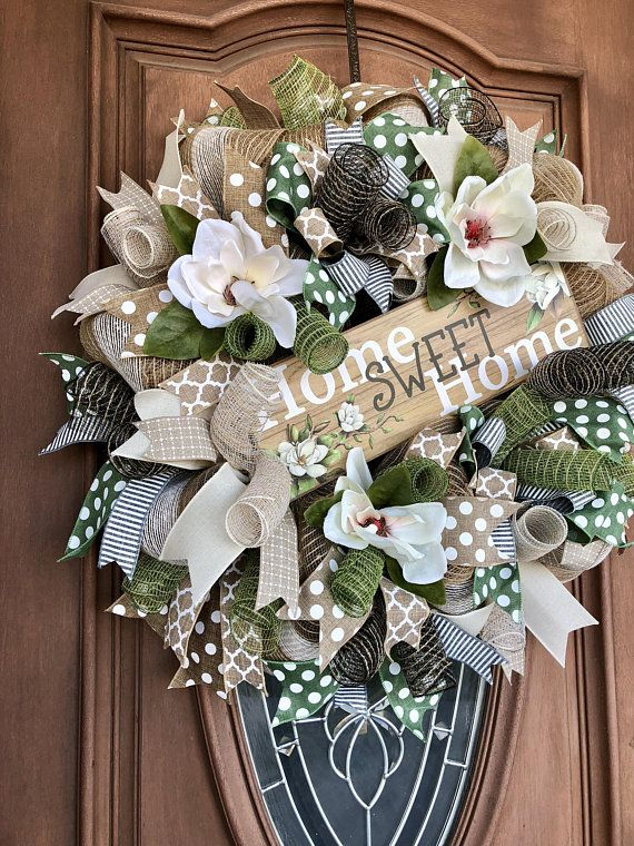 Magnolia Wreath Home Sweet Burlap Spring Front Door Everyday Summer Wreaths