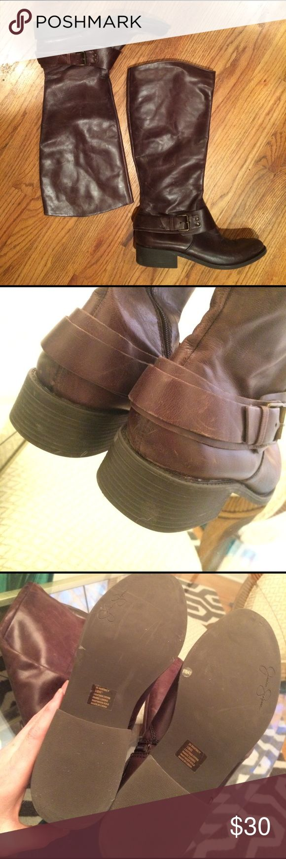 Jessica Simpson leather boots Jessica Simpson - leather - size 11 - super cute and comfortable - excellent condition - made in China - zip up - adjustable buckle around ankle Jessica Simpson Shoes