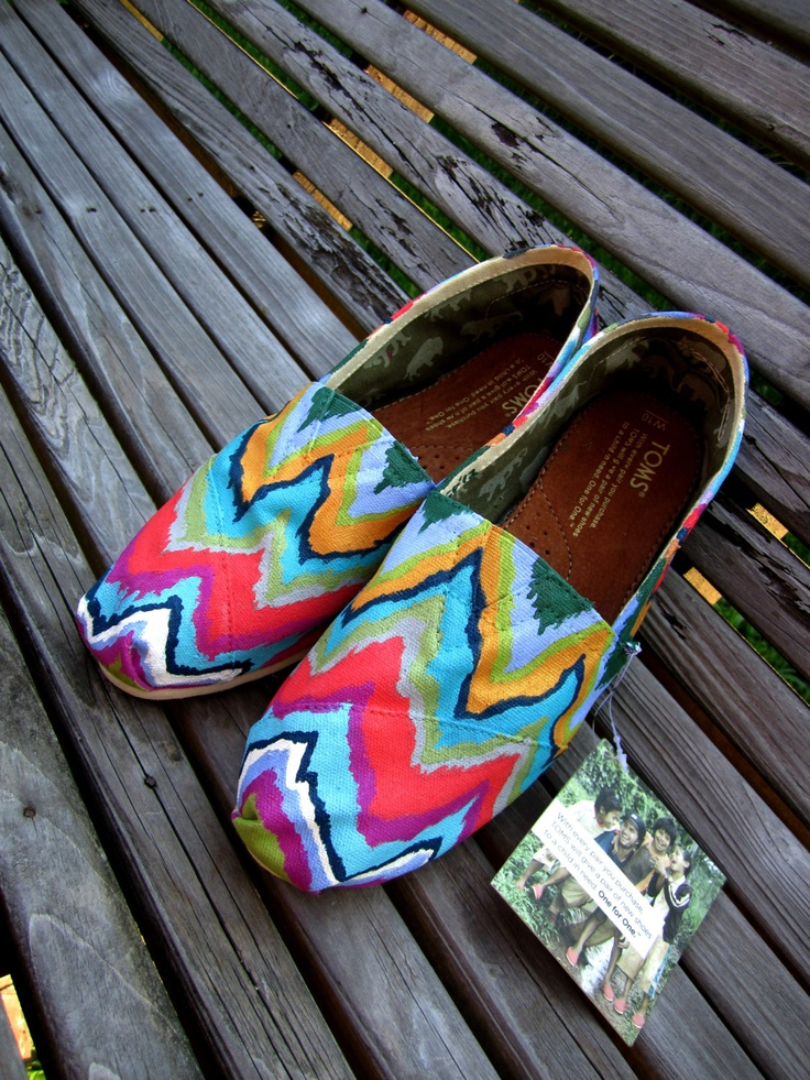 Weeping CHEVRON Hand-Painted Toms. $ 120.00, via Etsy.