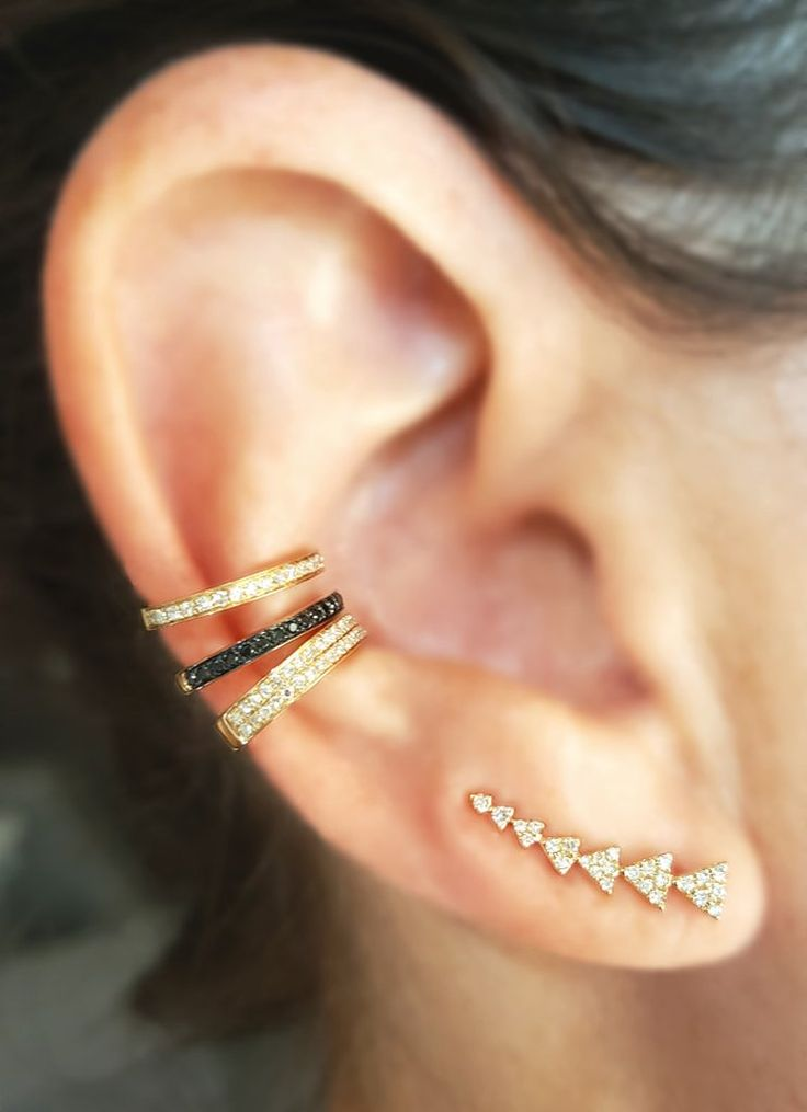 Half Single Row Black Diamond & Gold Ear Cuff - The EarStylist by Jo Nayor - 2