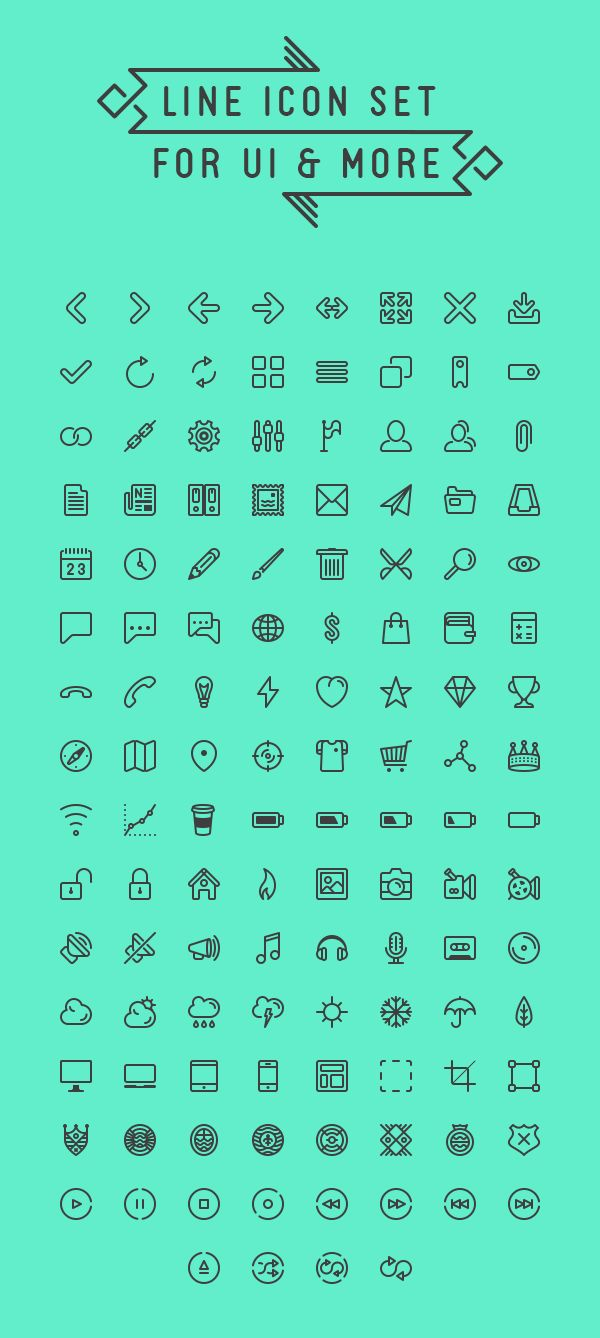 Line Icon Set For UI | GraphicBurger