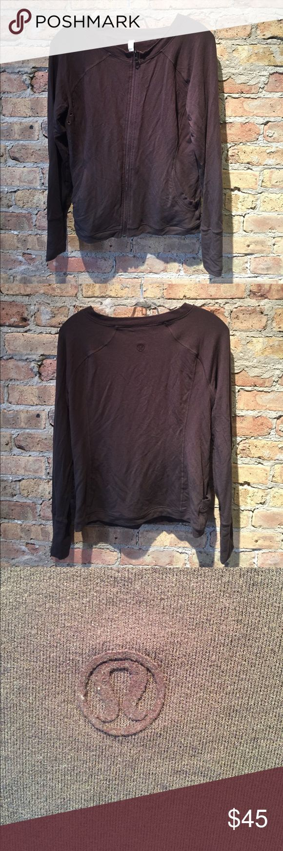 Lululemon brown zip up sweatshirt, sz 8, 55651 Lululemon brown zip up sweatshirt, sz 8, excellent used condition lululemon athletica Tops