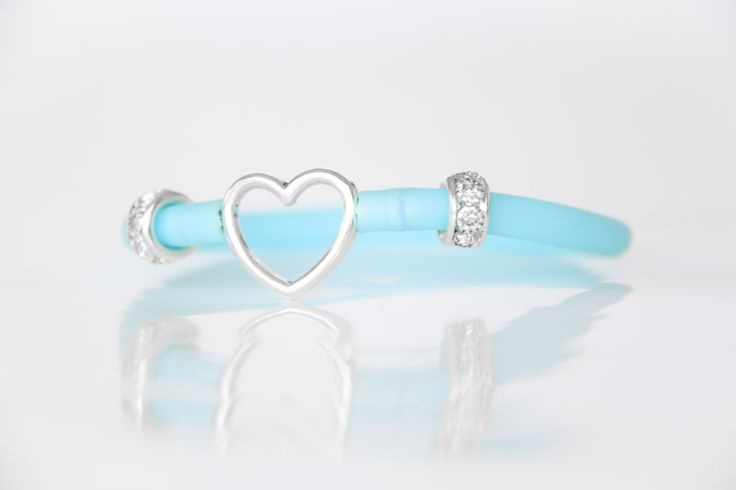 Heart Bracelet with Blue Tube Strap - Teelee - A Bits & Bobs Brand
