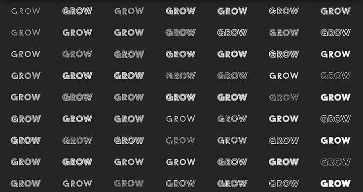 Das Grow-Schriftsystem basiert auf sechs Grundschnitten. Aus diesen Grundschnitten lassen sich durch Kombination mit der eigens entwickelten Software insgesamt 63 individuelle Schriften generieren, die als separate Fonts generiert und eingesetzt werden können.  Jeder Zeichensatz umfasst Latin-Extended, es gibt 14 Stylistic Sets, Bruch- und Römische Ziffern, Pfeile und Ligaturen.