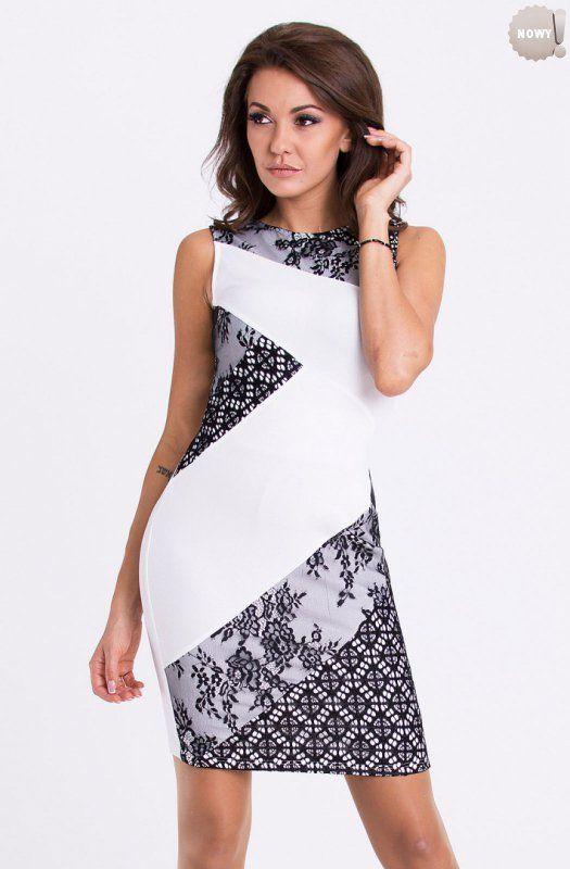 Sukienka koktajlowa ozdobiona asymetrycznymi wstawkami z koronki. #sukienka #dzienna #kobieta #moda #trendy #biel