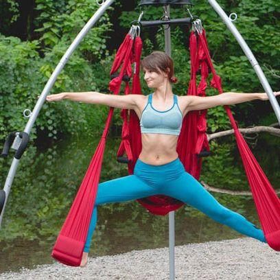 Warrior Pose in Suspension #aerialyoga #omnigym #rocketstand