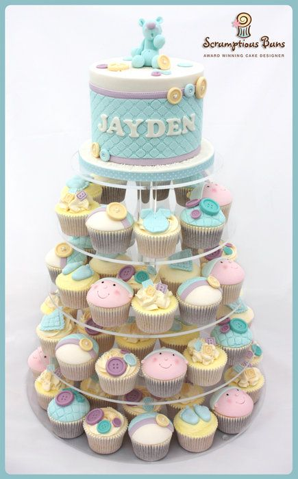Baby Boy Christening Cupcake Tower - by Samantha Douglass @ CakesDecor.com - cake decorating website
