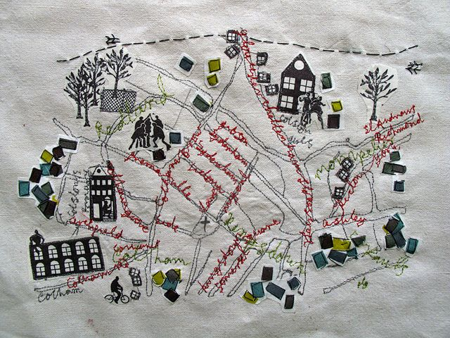 Bringing TOGETHER parts of a town / village in a 2D form with text, using embroidery