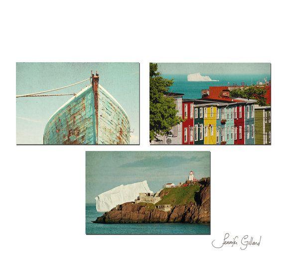 boat lighthouse iceberg decor  Print Set of 3 by DreamsandNotions