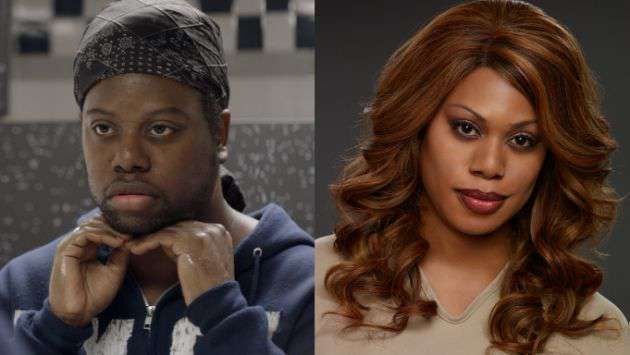 20 Transgender Celebrities - Laverne Cox before and then after her transition.