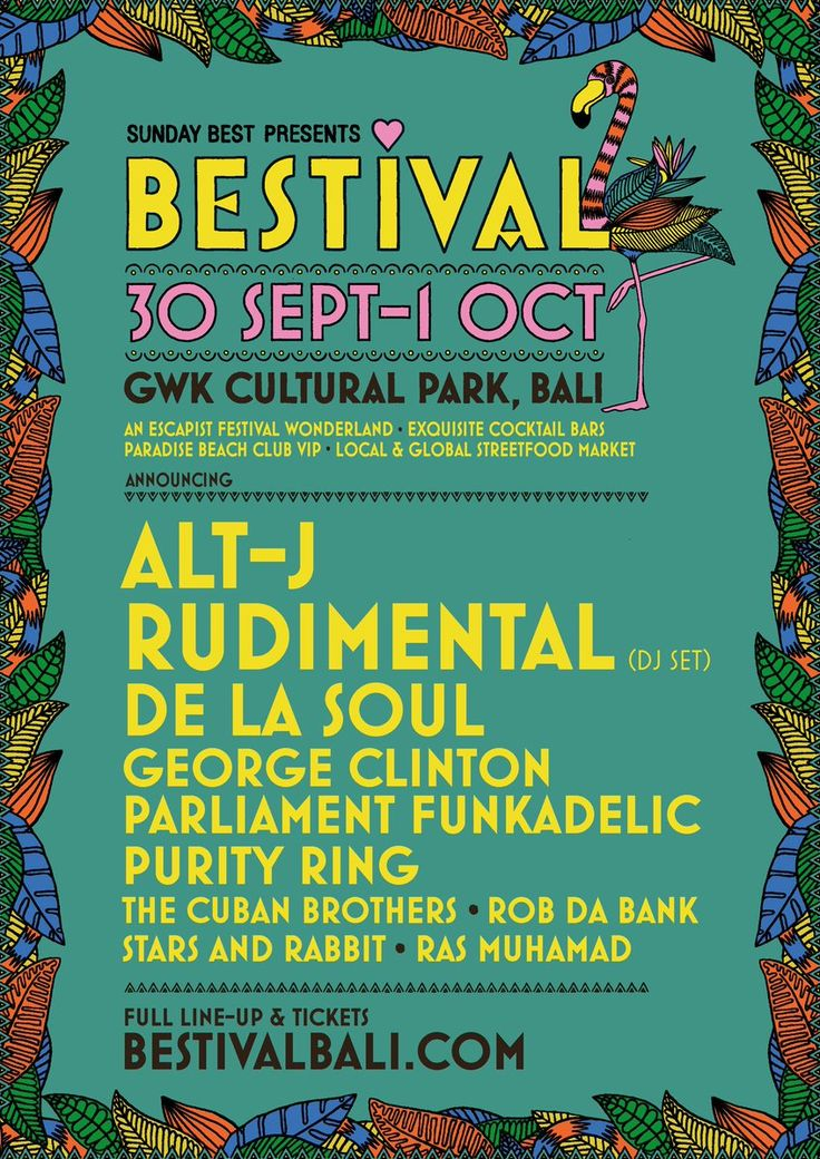 Bestival 30 sept - 1 October 2017, GWK Cultural Park, Bali. See bestivalbali.com In association with the mob in East Lulworth, England
