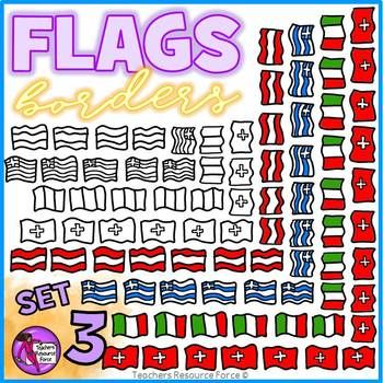 Flag Borders Clipart Doodle Style (Italy, Greece, Switzerland, Austria)