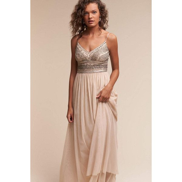 Anthropologie Aida Wedding Guest Dress (€265) ❤ liked on Polyvore featuring dresses, nude, anthropologie, floor length tulle dress, floor length cocktail dresses, anthropologie dresses and pink tulle dress
