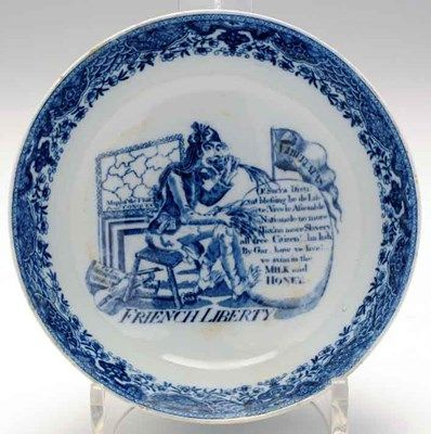 A pearlware transfer printed 'French Liberty' bowl after James Gillray, £2200 from the collection of Walton Temple sold by Anderson & Garland.