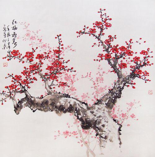 Art Aesthetic Flower Tree Cute Kawaii Red White Japan Asia Cherry Blossom Painting Cherry Blossom Art Chinese Cherry Blossom