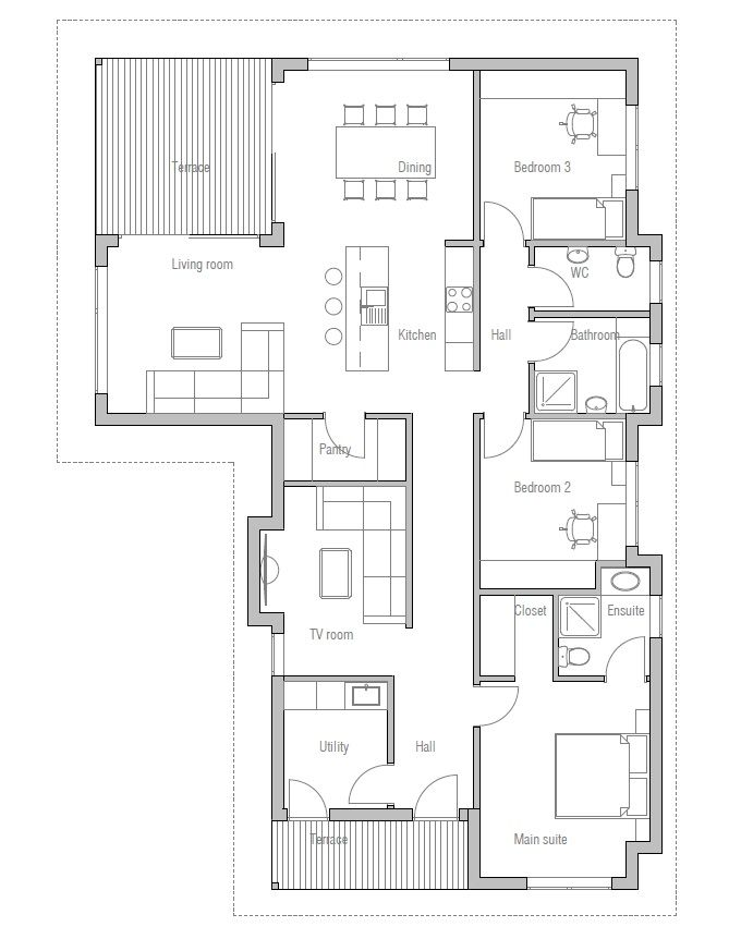 Small house plan with three bedrooms suitable to narrow for Small affordable house plans