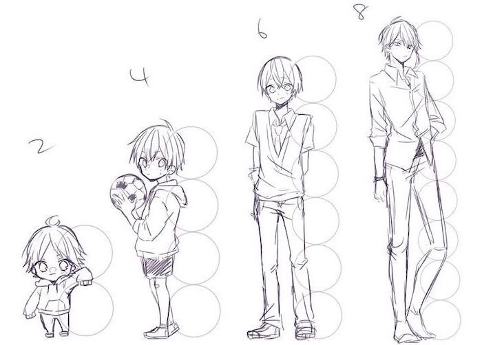 Height Difference How To Draw Anime Boy Tutorial Black And White Pencil Sketch Anime Drawings Tutorials Anime Drawings Boy Drawing
