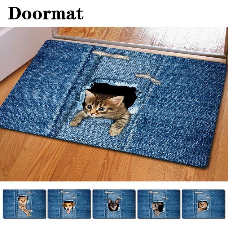 Moda Kawaii tapetes de boas vindas Animal bonito gato de impressão do cão casa cozinha banheiro tapete capachos para sala de estar Anti   deslizamento tapete em Esteira de Home & Garden no AliExpress.com | Alibaba Group