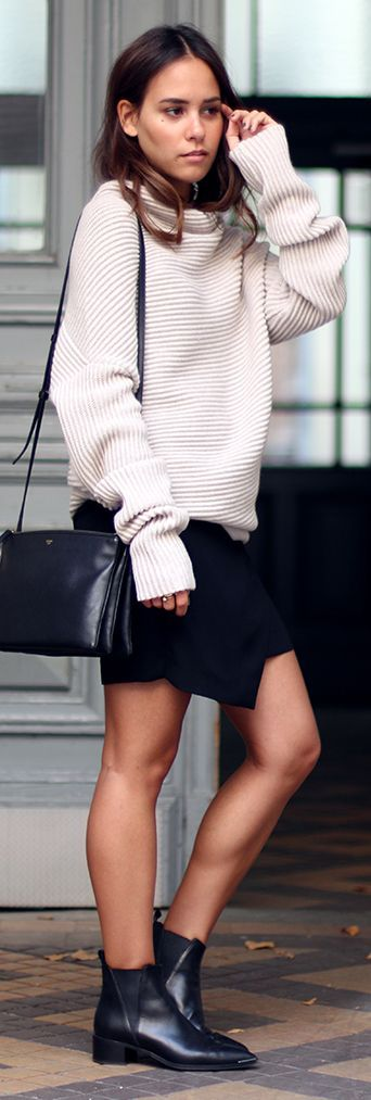 Teeth Are Jade Black Booties Black Wrap Skirt Structured Oversize Cowl Neck Sweater Fal Inspo