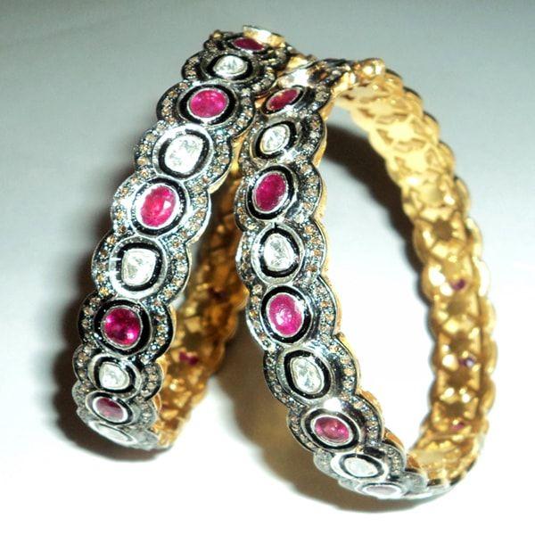 Ruby Pave Sterling Silver Diamond Bracelet Pair