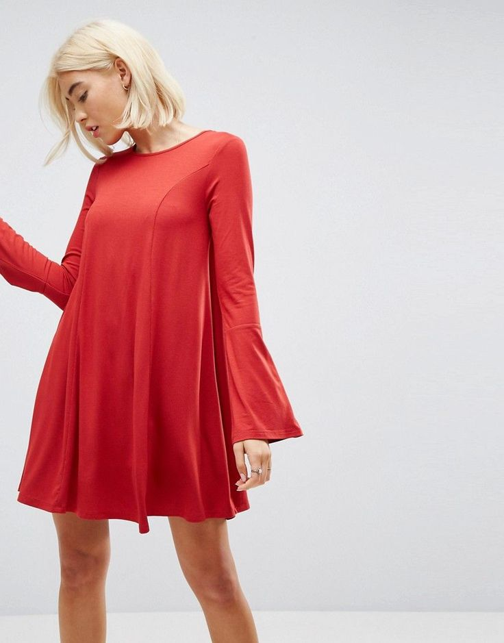ASOS Mini Swing Dress with Seam Detail and Trumpet Sleeve - Red