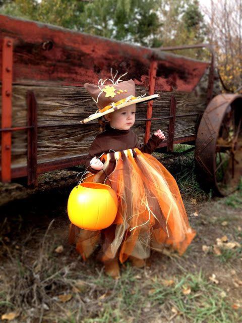 Halloween little girls costume DIY: scarecrow pumpkin princess tutu from the Intentional Momma!