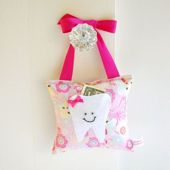 Girls Fairy Princess Tooth Fairy Pillow Tooth Fairy Gift in Pink Sparkle Princess Fabric via Etsy