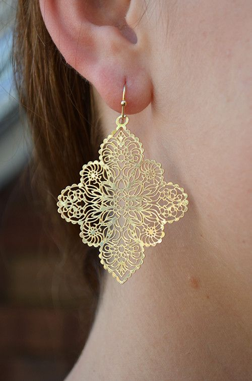 Go Morocco Earrings in Gold :: $8 :: Groovys.com :: gold moroccan earrings, light-weight earrings, intricate laser-cut design.