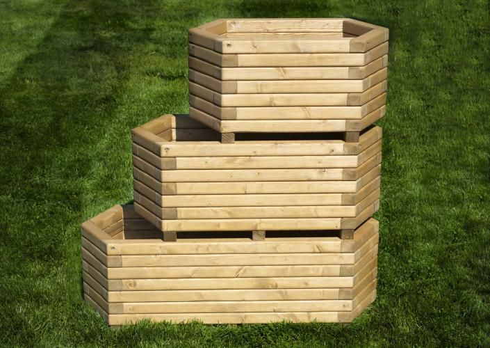 70cm Long Hexagon Wooden Planter For Sale In Greetham None International Preloved With Images Wooden Planters