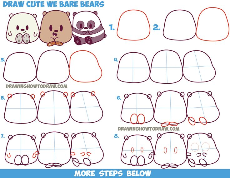how to draw a cartoon bear for kids